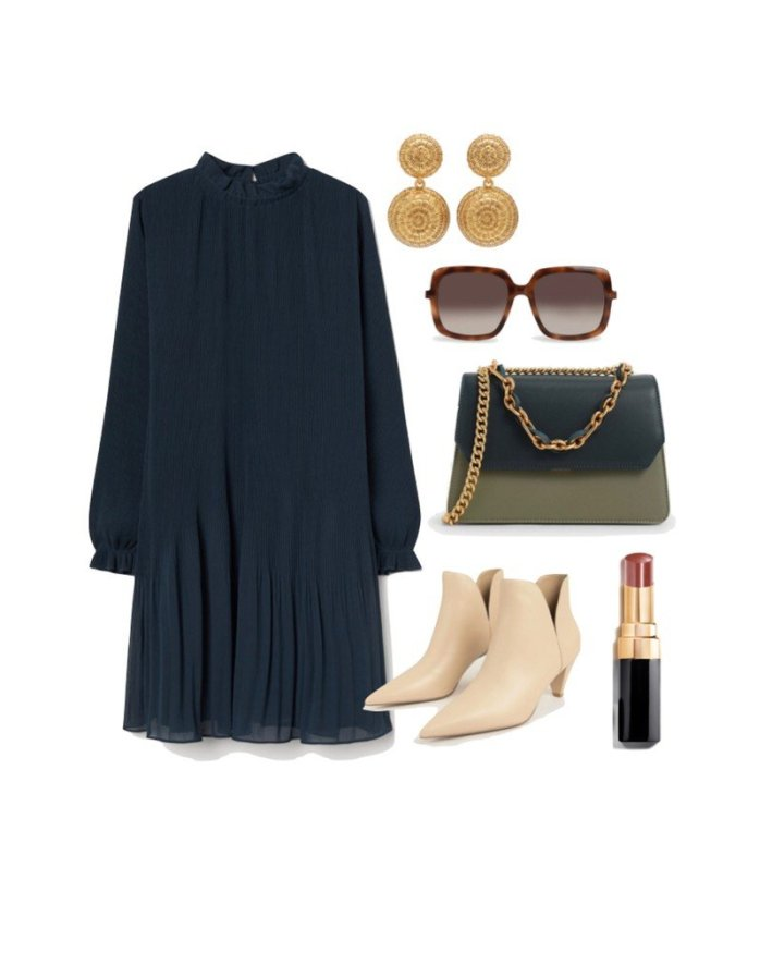 h&m teal dress ankle boots lipstick and accessories fashion edit