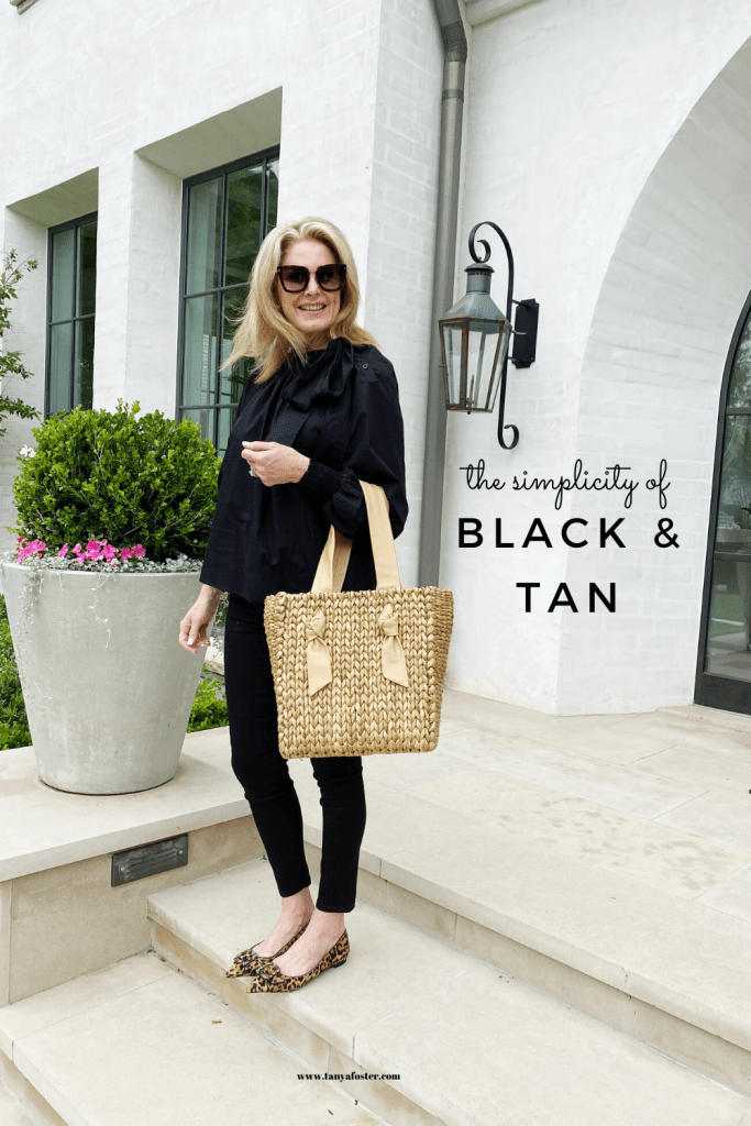 Tanya Foster in top shop black blouse black mott and bow jeans sam edelman flats shopbop purse and tom ford sunglasses