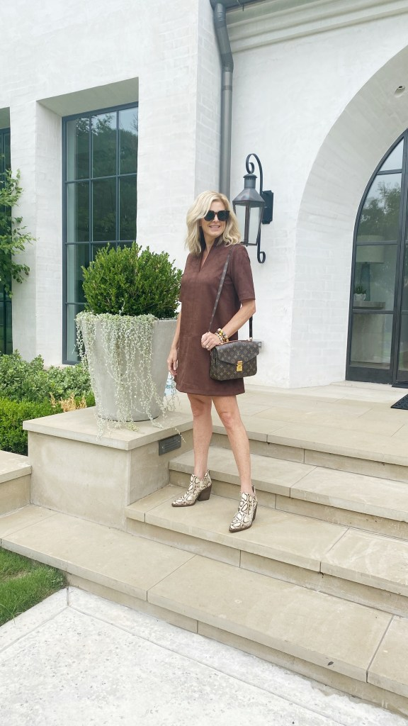 tanya foster in tuckernuck brown suede dress vince camuto snakeskin ankle boots tuckernuck sunglasses louis vuitton crossbody bag
