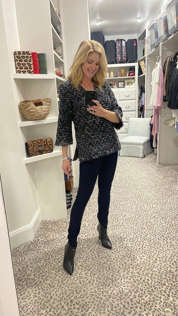 Tanya foster wearing tuckernuck sample sale top with veronica beard jeans and booties
