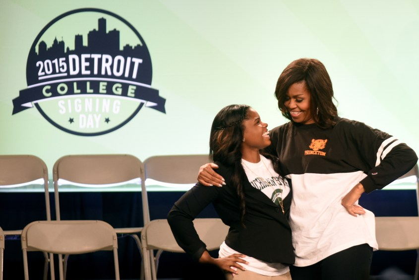 First Lady Michelle Obama joined over 2,000 Detroit high school seniors for college signing day at Wayne State University Friday May 1, 2015. (Tanya Moutzalias | MLive Detroit)