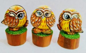 Three wis owls. Artwork by: Harshita Sharma
