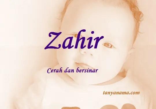 arti nama Zahir