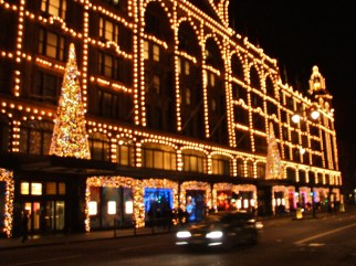 Harrods Department store in Knightsbridge brings a touch of Las Vegas to London this Christmas