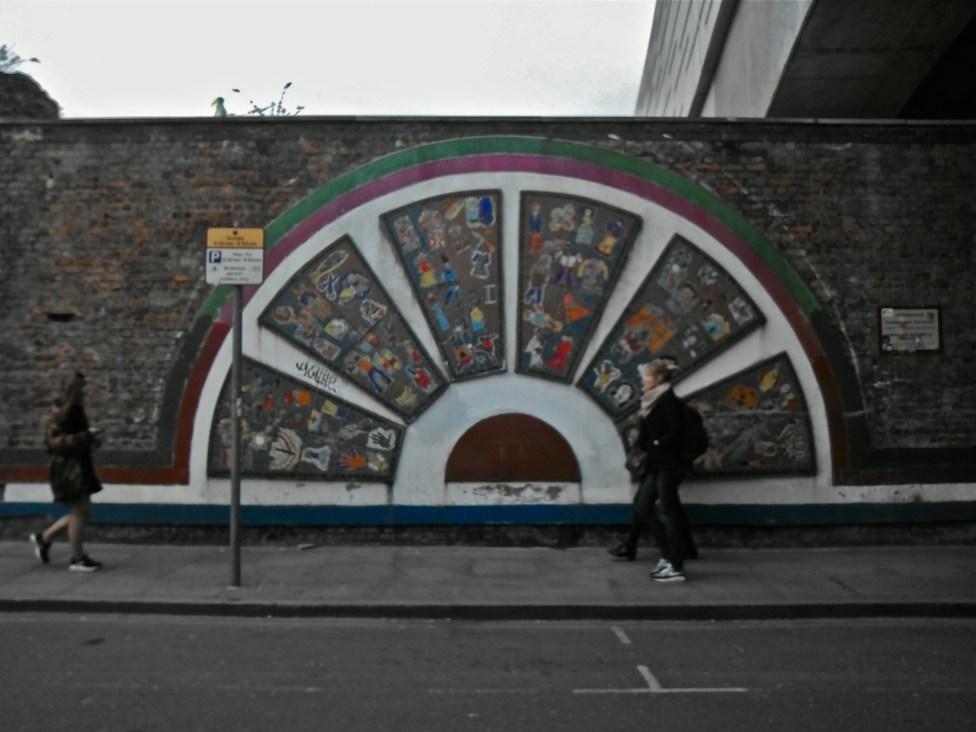 Not graffiti but interesting wall art.