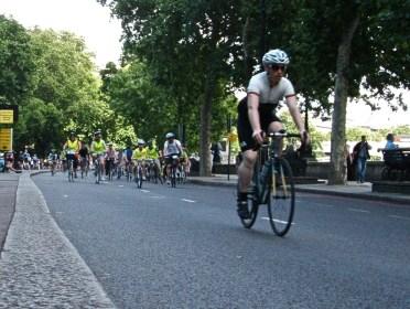Participant in Ride London 2013. Victoria Embankment
