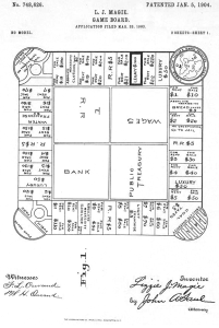 The patent application filed by Elizabeth Magie for the Landlord's Game
