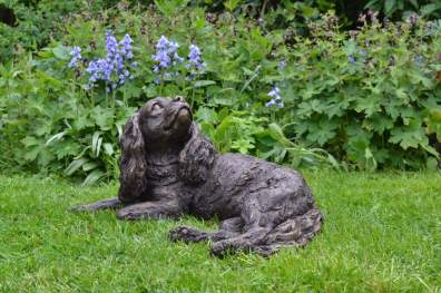 Lying Cavalier King Charles Spaniel sculpture - quarter left view