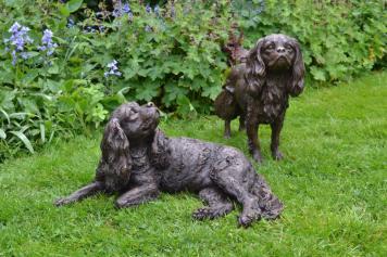 Standing Cavalier King Charles Spaniel sculpture with Lying Cavalier King Charles sculpture