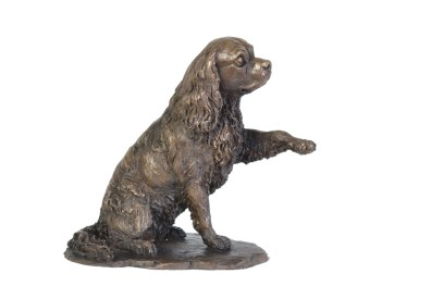 Cavalier King Charles Spaniel, Waving Paw sculpture - right view