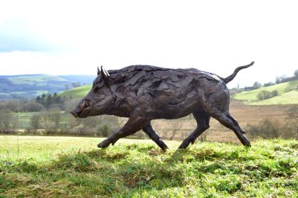 Life-sized Wild Boar sculpture right side view