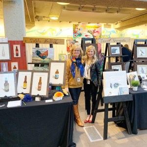Gayle Kohut and Tanya Verquin Art booths at Art World Expo Edmonton