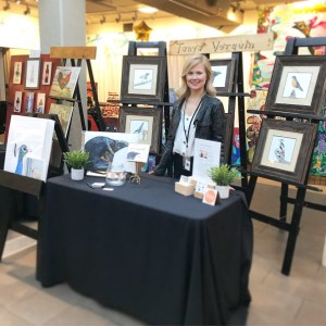Tanya Verquin art booth at Art World Expo Edmonton