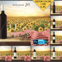 Bottle M1BG02 Wine Bottle with Red Wine on by TanyDiDesignStudio