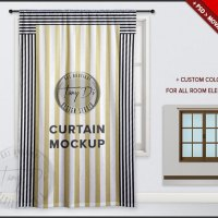 Long Curtain on Window PSD Mockup Window Area by TanyDiArtDesign