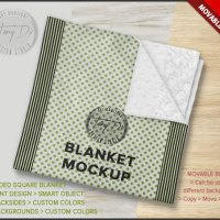 Square Blanket PSD Styled Mockup Minky Folded by TanyDiArtDesign