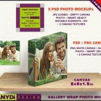 8x8 Gallery Wrap Canvas PSD Styled Mockup 1.5in Deep Blank