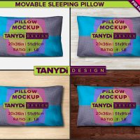 King Pillow-Case Photoshop Fabric Mockup M4-2036-1 | Movable Sleeping Pillow 20x36 | 4 Styled JPG Scenes