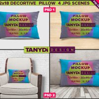 Decorative Pillow Photoshop Fabric Mockup M2-1218-1 | Movable Burlap Pillow 12x18 | 4 Styled JPG Scenes
