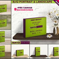 8x12 Gallery Wrap Movable Photo Canvas Photoshop Print Mockup C812-15 | Portrait & Landscape | 1.5in Deep | Wood table shelf