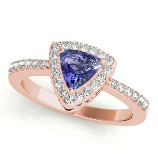 0.35 Carat Trillion Tanzanite Engagement Ring in 14k Rose Gold