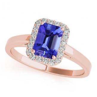 0.80 Carat Emerald Cut Tanzanite Ring in 14k Rose Gold