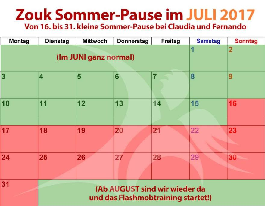 Zouk-Sommerpause 2017