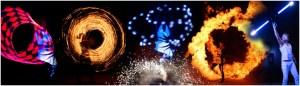 Feuershow und Lichtshow Collage * Q7