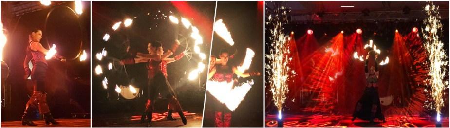 DANCE IN FLAMES - Feuershow mit zwei Feuertänzerinnen - Feuertanz, Feuerjonglage, Feuerrequisiten wie Hula Hoop, Poi, Fächer, Seile, Buugeng, Feuereffekte und Funkeneffekte