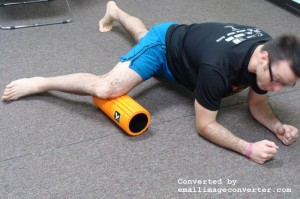 Slowly massage out to the knee seeking out the most painful spots - Foam roller at inner thigh