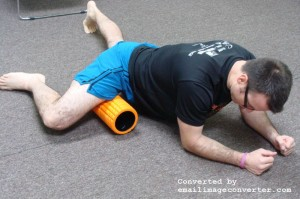 Place foam roller lengthwise to your body. Bend your knee to 90 degrees with your inner thigh on the foam roller. For plantar fasciitis treatment.
