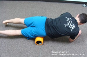 With foam roller on front of hip, massage from the hip bone to the top of the thigh. Slowly rotate your opposite hip up towards the ceiling.
