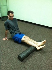 Place foam roller beneath calves. Slowly roll from the ankles to the knees. For plantar fasciitis treatment.