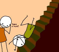 drawing of someone falling down stairs.