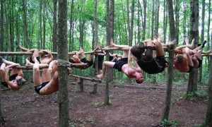 A MovNat fitness class Hanging and Climbing