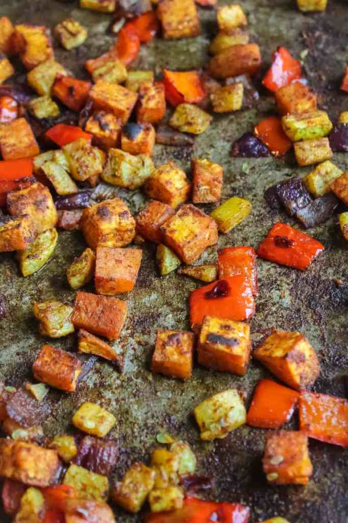 roasted veggies on baking sheet