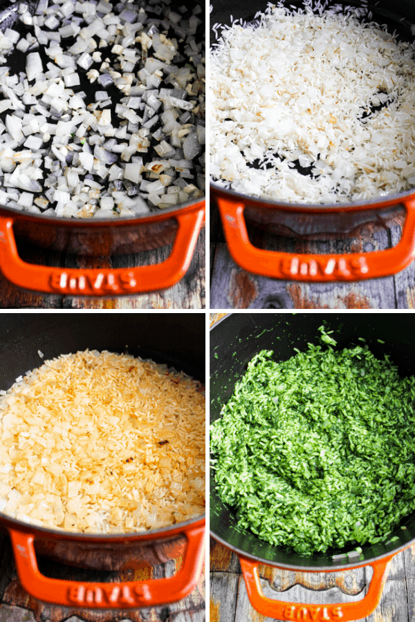 four stages of green rice: sauteed onion and garlic, browned rice, rice cooked, rice with greens.