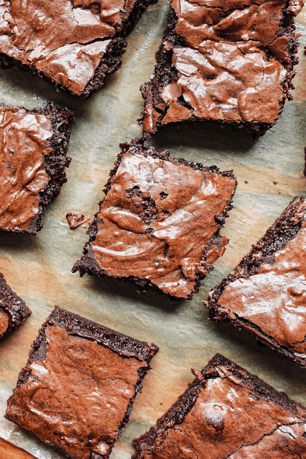 brownie slices  on parchment paper from above