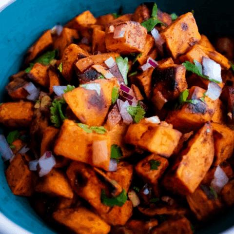 Bowl of cilantro lime sweet potato salad.