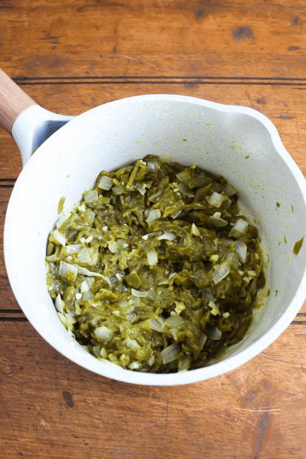Hatch chile mixture with flour in a saucepan.
