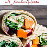 Pinterst graphic for autumn harvest vegetable wraps w/ chimichurri hummus.