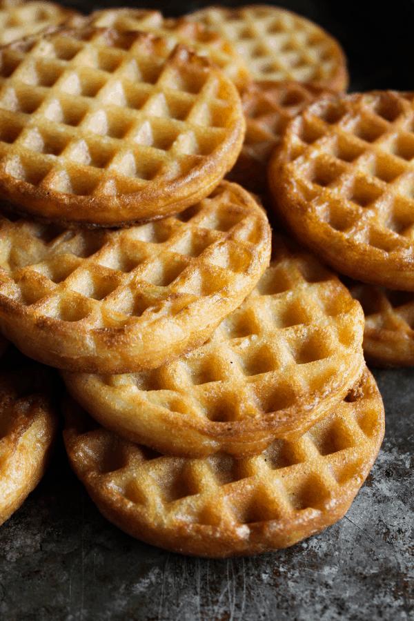 Stack of crispy deep fried waffles.