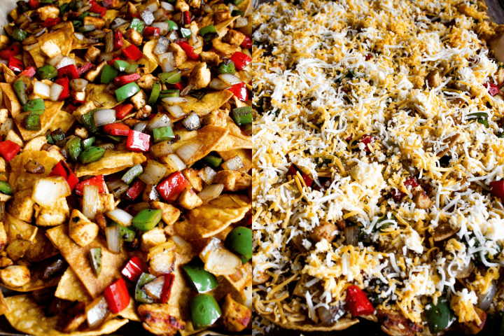 Side by side shot of layering of nachos.