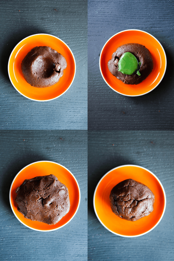 Four steps of cookie: flat with divot, divot filled with green caramel, two sides sandwiches together, formed into ball.