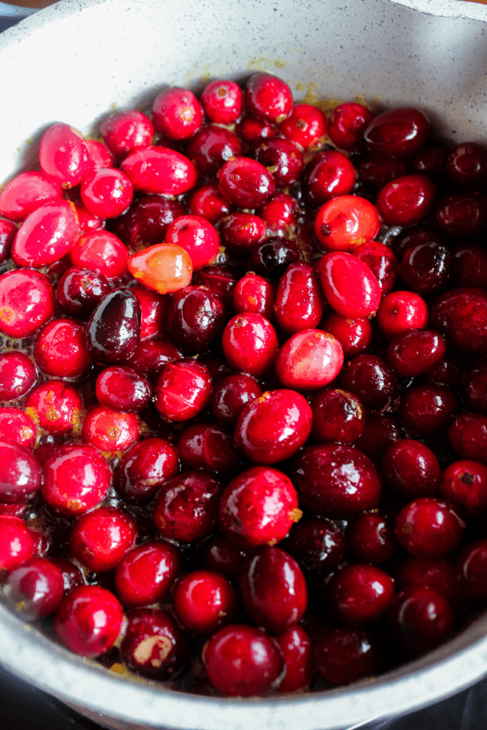 Cranberries in a small sauce pan.