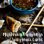 Pinterest graphic for mushroom dumplings with black garlic soy sauce.