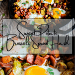 Pinterest graphic for sweet potato Brussels sprout hash.