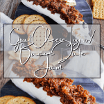 Pinterest graphic for goat cheese log with bacon date jam.