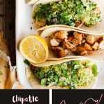 Pinterest graphic for chipotle chicken Caesar tacos with avocado salsa verdé.