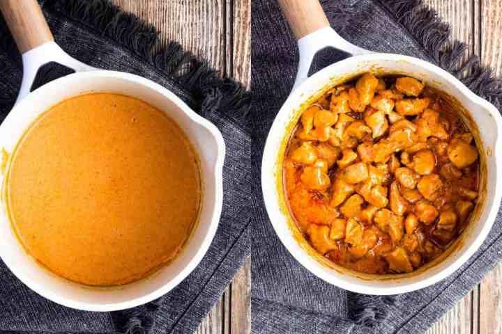 Sauce pan of buffalo sauce next to sauce pan with buffalo sauce and chicken.